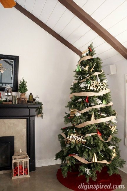 decorate your christmas tress for a new years party - Dollar Store Christmas Tree