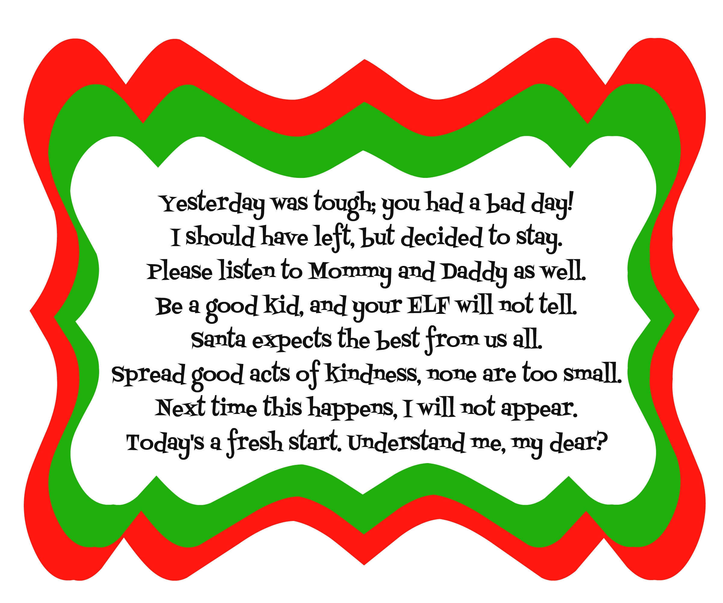 ... download the printable for free here: Elf on the Shelf Bad Day Poem