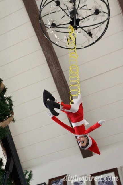 Last Minute Elf on the Shelf Ideas Day 13 Bungee Elf (1)