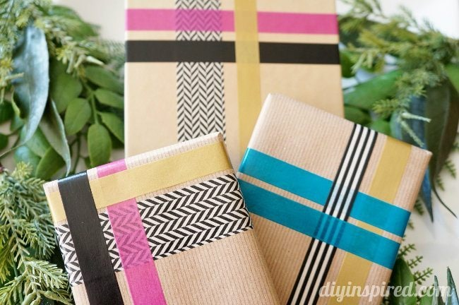 Washi-tape-gift-wrapping-with brown bags