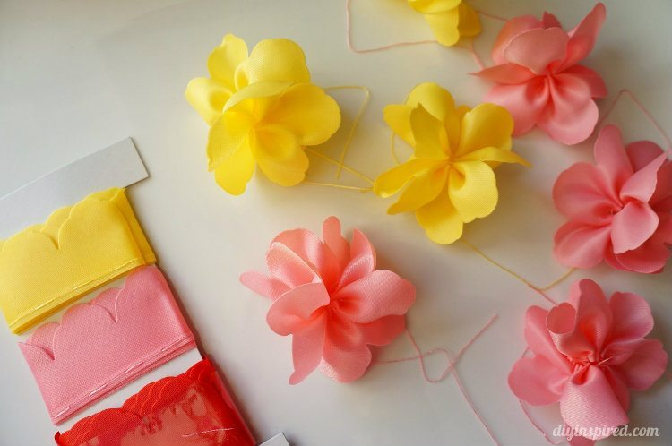 Flowers made out of ribbon