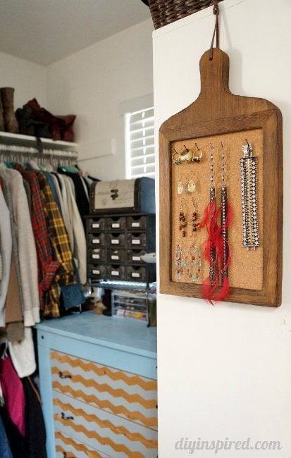 Repurposed Cork Board Jewelry Organizer