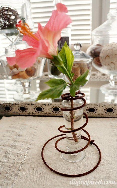 Repurposed Bed Springs Bud Vase