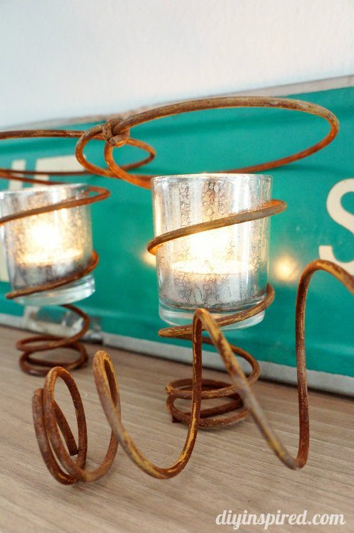Repurposed Bed Springs Candle Holder