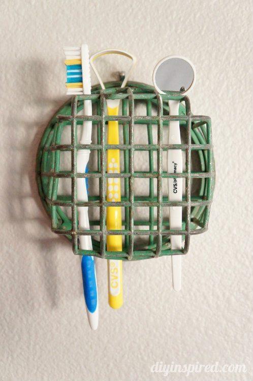 Repurposing Ideas Flower Frog Toothbrush Holder