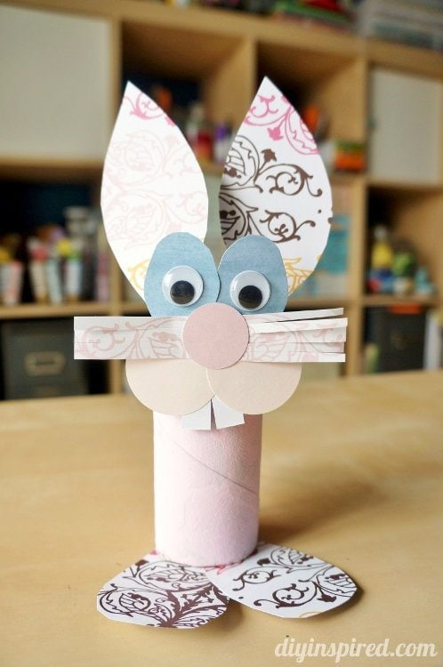 Toilet paper roll bunny craft diy inspired for Diy using toilet paper rolls