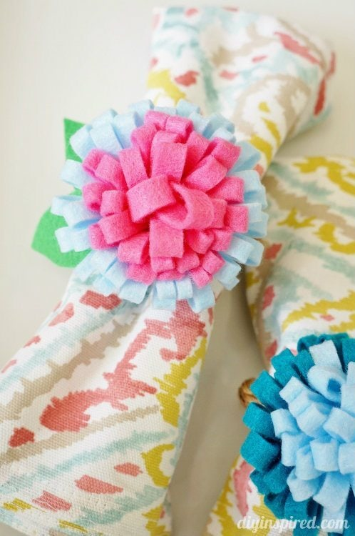 Felt Flower Napkin Rings for Mother's Day