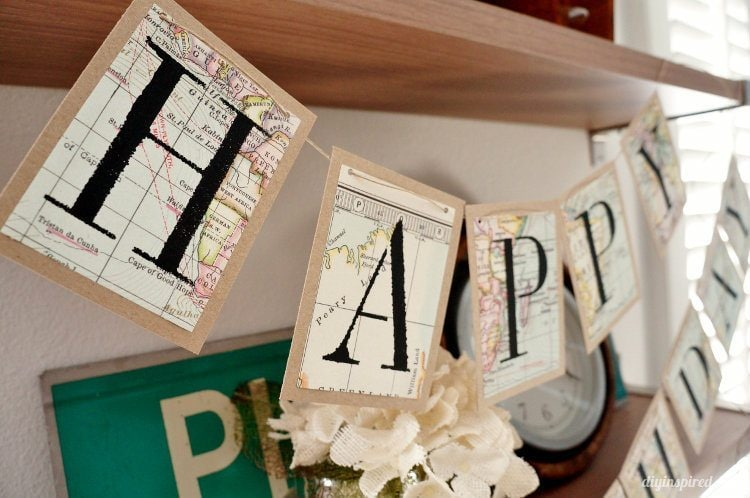 Recycled Map Happy Birthday Banner DIY