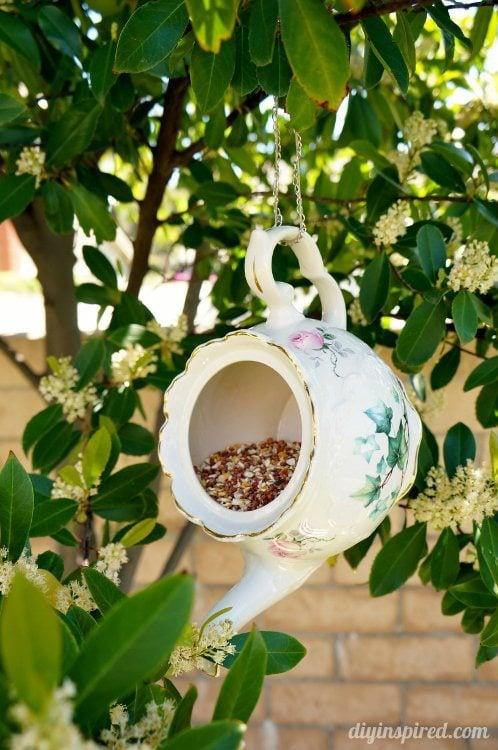 Teacup Bird Feeder Repurposing Idea Diy Inspired