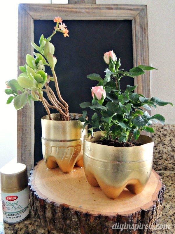 Recycled planter with plastic bottles