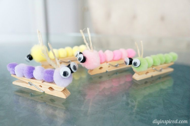 Caterpillar Clothespin Kids Craft Diy Inspired