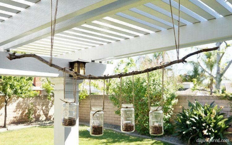 DIY Mason Jar Outdoor Chandelier & DIY Outdoor Mason Jar Chandelier - DIY Inspired