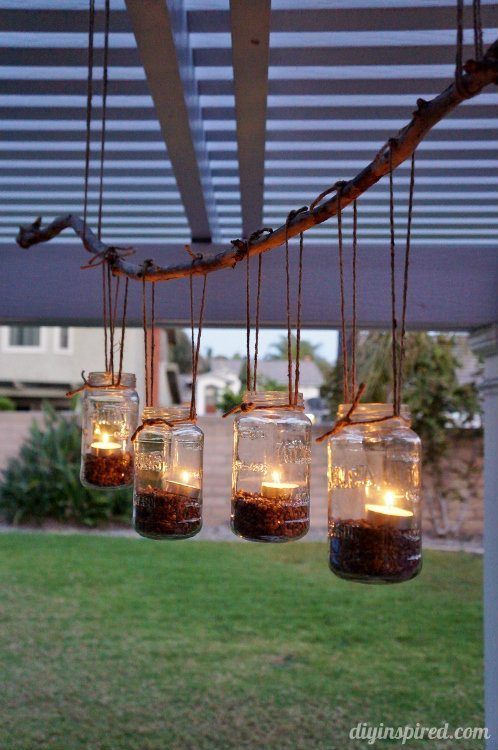DIY Outdoor Hanging Mason Jar Chandelier