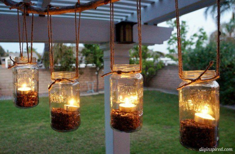 DIY Outdoor Mason Jar Chandelier Inspired
