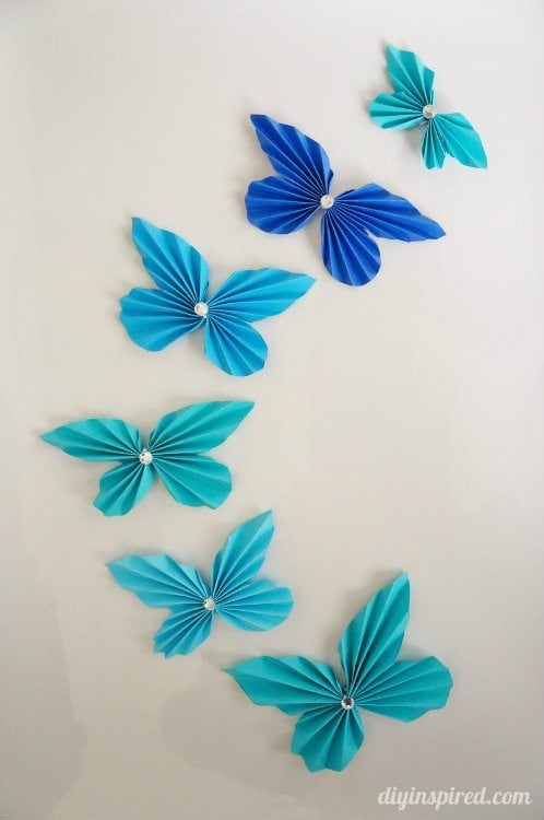 Diy accordion paper butterflies diy inspired for Butterflies for crafts and decoration