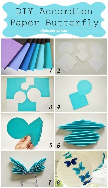 Diy accordion paper butterflies with astrobrights papers for How to decorate a paper butterfly