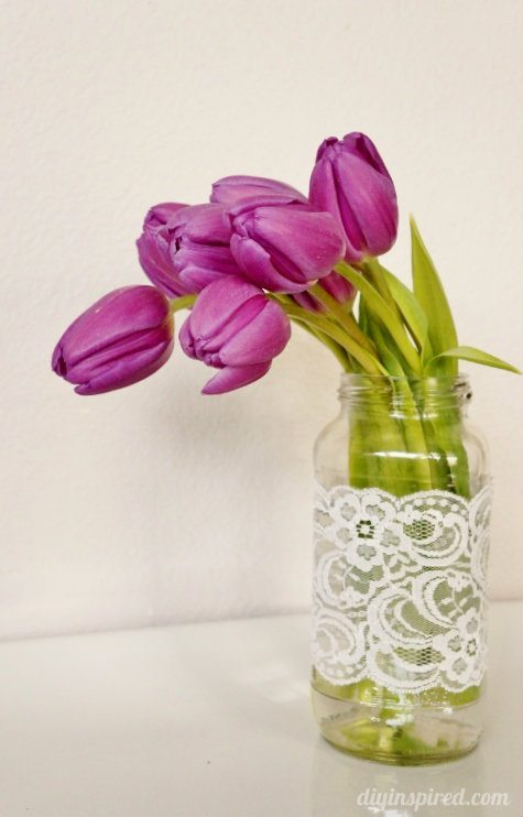 Mason Jar with lace and Tulips