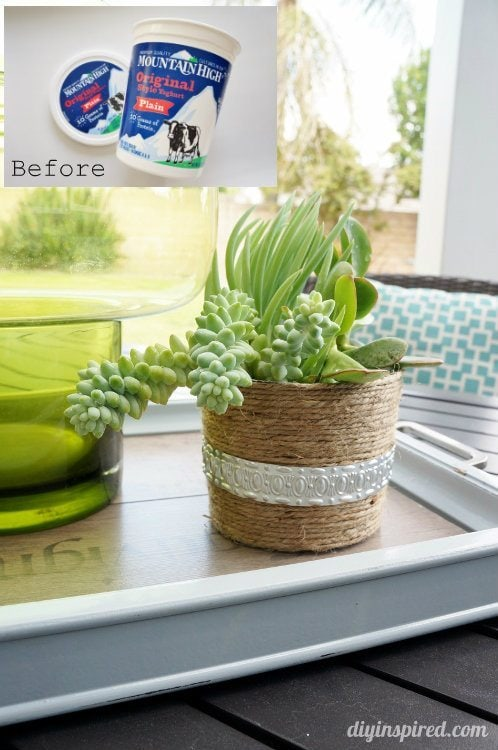 Repurposed Plastic Container Before and After