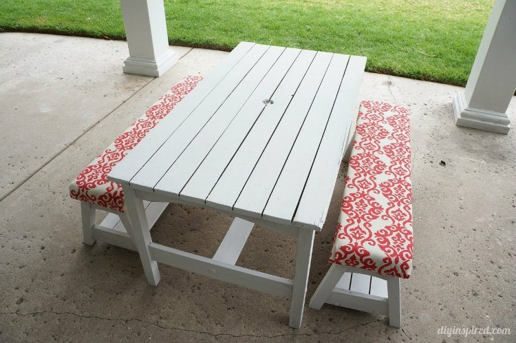 Kids Picnic Table with Upholstered Bench