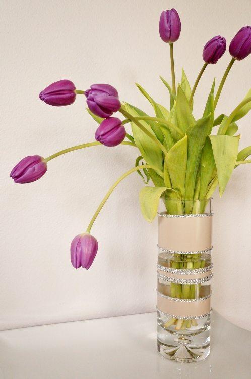 Spray Paint and Rhinestone Vase Centerpiece