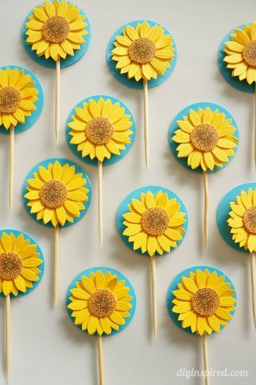 Sunflower Cupcake Toppers for Frozen Fever Party