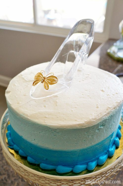 Cinderella Blue Ombre Cake with Glass slipper
