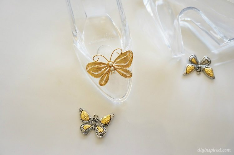 Cinderella Movie DIY Glass Slipper with Gold Butterfly