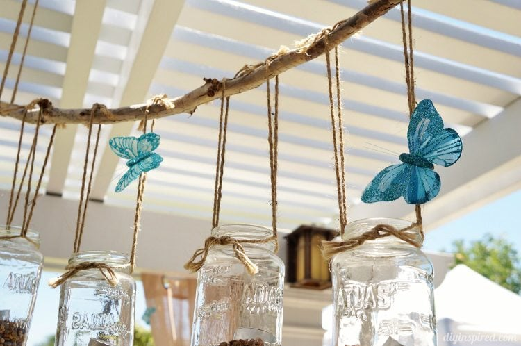 Cinderella Party Decor with Blue Butterflies