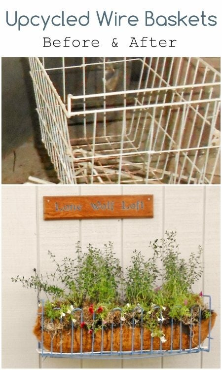 Upcycled Wire Baskets Before and After