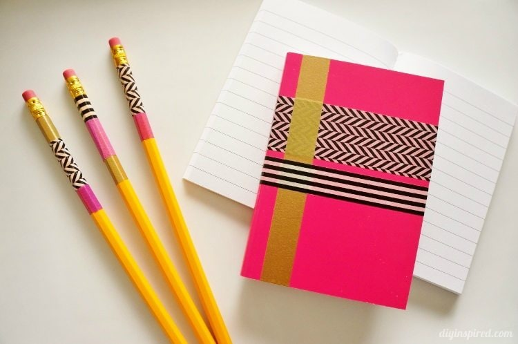 Washi tape crafts pencils and notebooks diy inspired for Crafts with washi tape