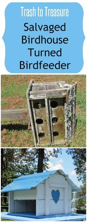 Trash to Treasure Salvaged Bird House Turned Birdfeeder