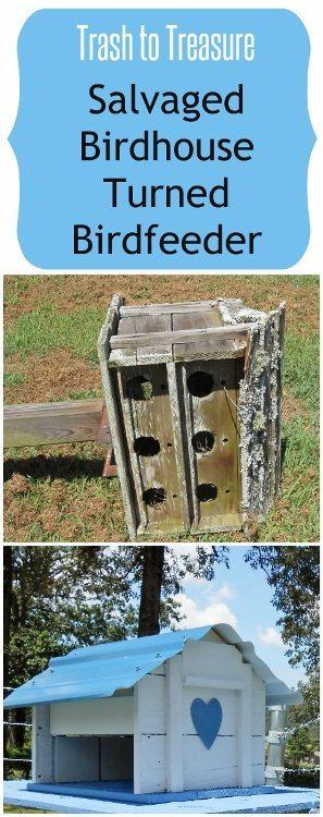 Trash to Treasure Salvaged Bird House Turned Birdfeeder