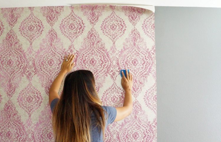 how to hang wallpaper with a pattern diy inspired