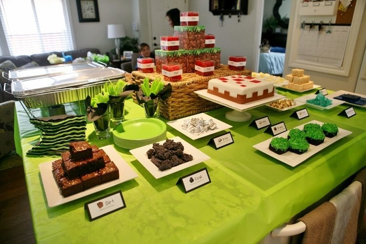Minecraft birthday party ideas diy inspired minecraft party food spread solutioingenieria Images