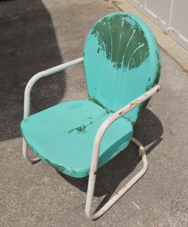 Retro Vintage Metal Patio Spring Base Chair