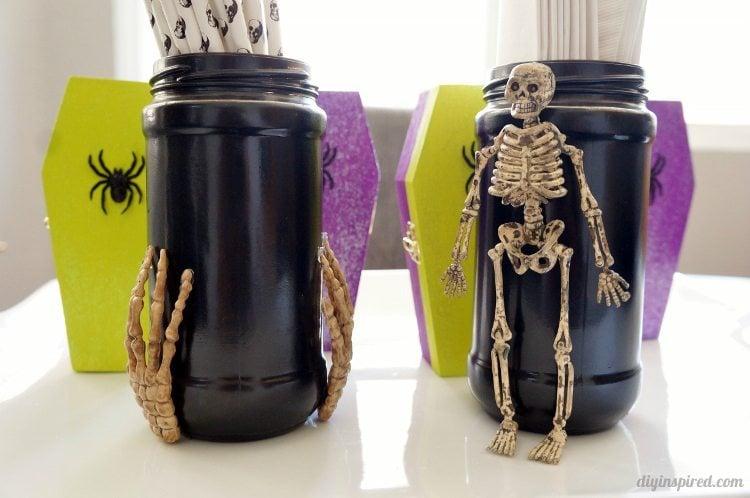 Spooky Halloween Recycled Jars