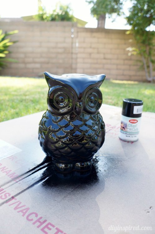 Upcycled Spray Painted Halloween Owl