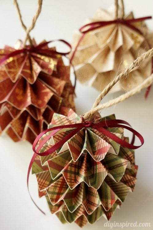 Diy paper christmas ornaments diy inspired for How to make paper christmas decorations at home