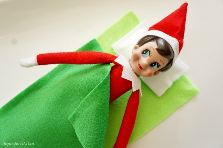 elf on the shelf sleeping bag diy inspired