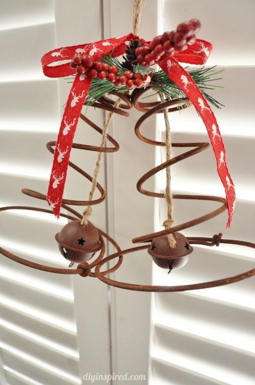 Repurposed Bed Spring Christmas Bells DIY Inspired
