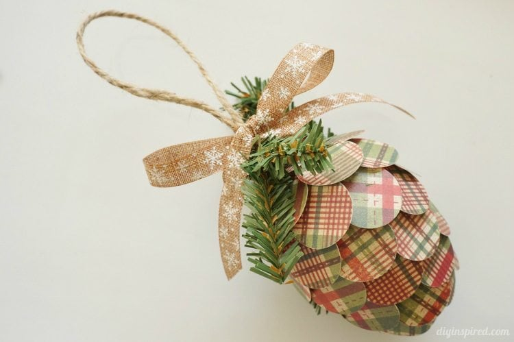 Repurposed Paper Pine Cone Ornament