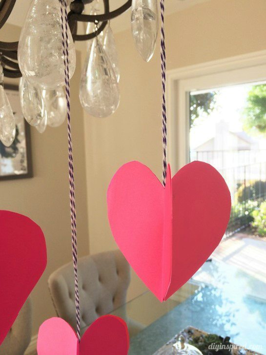 3D Paper Hearts for Valentines Day