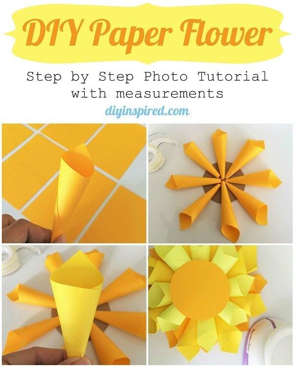 Diy paper flower craft diy inspired for Diy paper crafts tutorials