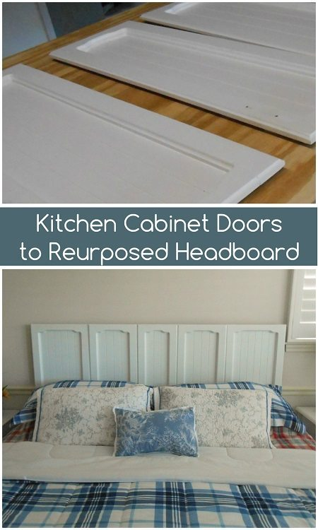 Kitchen Cabinet Doors to Repurposed Headboard DIY Inspired