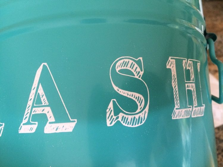 Stenciled Metal Trash Can