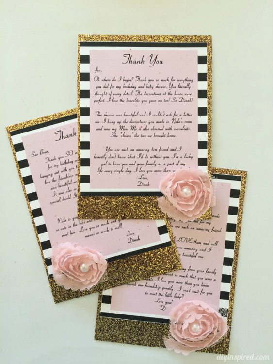 DIY Gold Glitter Thank You Cards