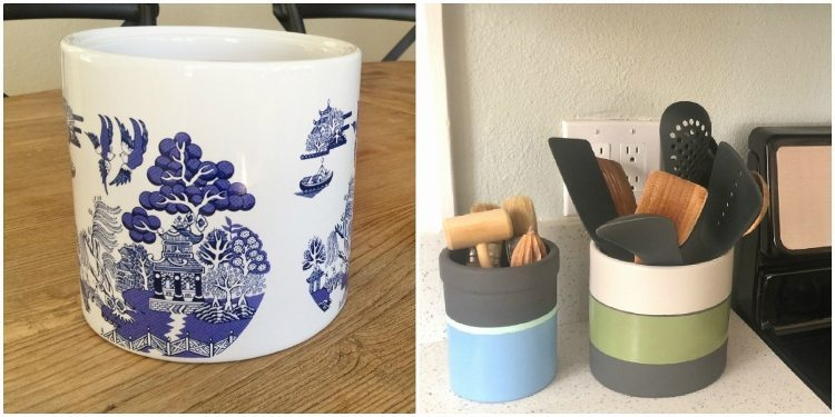 DIY Upcycled Striped Utensil Holder