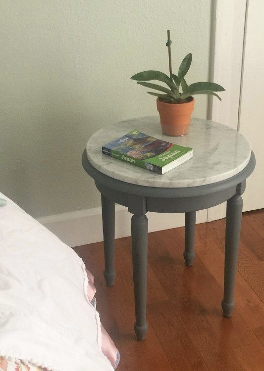 Side Table Makeover with Salvaged Marble - DIY Inspired