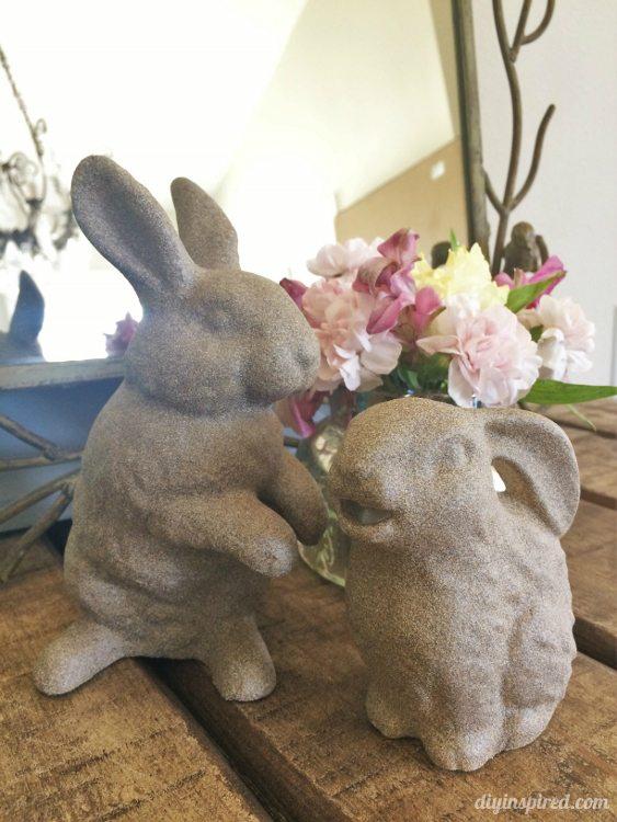 Spray Painted Stone Easter Bunnies - DIY Inspired