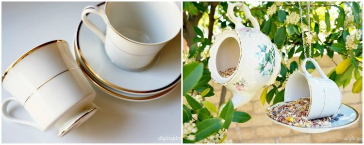 Teacup Bird Feeder Repurposing Idea